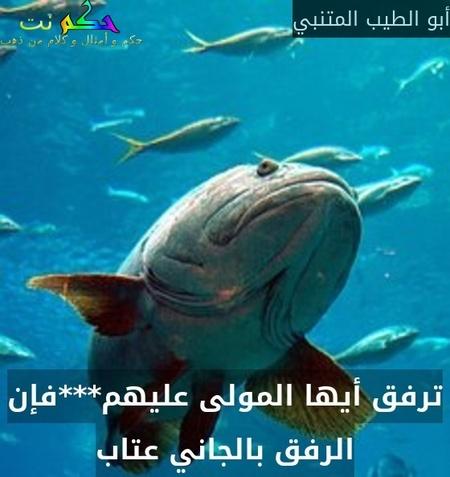 ترفق أيها المولى عليهم***فإن الرفق بالجاني عتاب-أبو الطيب المتنبي
