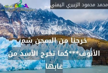 خرجنا من السجن شم الأنوف***كما تخرج الأسد من غابها-محمد محمود الزبيري اليمني
