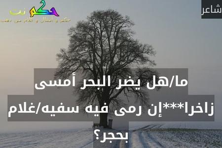ما/هل يضر البحر أمسى زاخرا***إن رمى فيه سفيه/غلام بحجر؟-شاعر