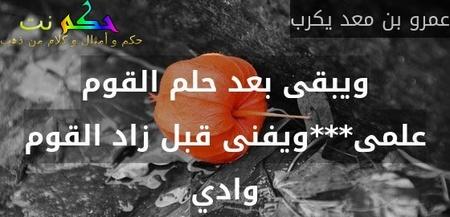ويبقى بعد حلم القوم علمى***ويفنى قبل زاد القوم وادي-عمرو بن معد يكرب