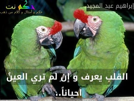 القلب يعرف و إن لم تري العينُ احياناً.. -إبراهيم عبد المجيد