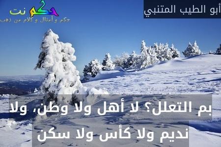 بم التعلل؟ لا أهل ولا وطن، ولا نديم ولا كأس ولا سكن -أبو الطيب المتنبي