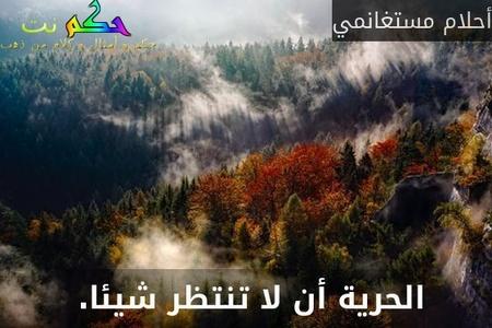 الحرية أن لا تنتظر شيئا. -أحلام مستغانمي