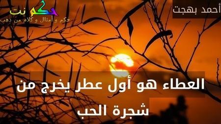 العطاء هو أول عطر يخرج من شجرة الحب -أحمد بهجت