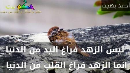 ليس الزهد فراغ اليد من الدنيا انما الزهد فراغ القلب من الدنيا -أحمد بهجت