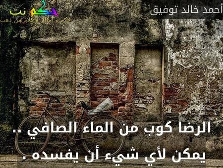الرضا كوب من الماء الصافي .. يمكن لأي شيء أن يفسده . -أحمد خالد توفيق