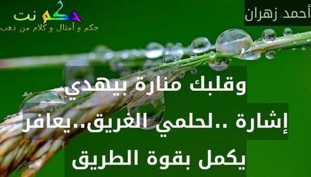 وقلبك منارة بيهدي إشارة ..لحلمي الغريق..يعافر يكمل بقوة الطريق -أحمد زهران
