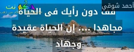 قف دون رأيك فى الحياة مجاهدا .... إن الحياة عقيدة وجهاد -أحمد شوقي