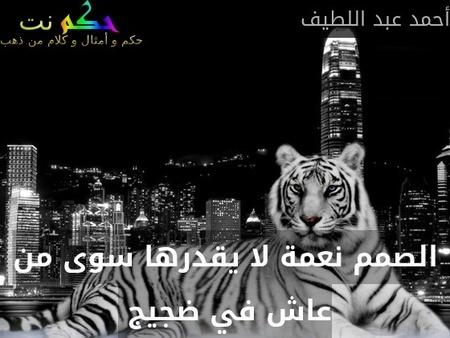 الصمم نعمة لا يقدرها سوى من عاش في ضجيج -أحمد عبد اللطيف