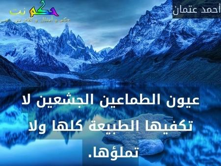 عيون الطماعين الجشعين لا تكفيها الطبيعة كلها ولا تملؤها. -أحمد عتمان