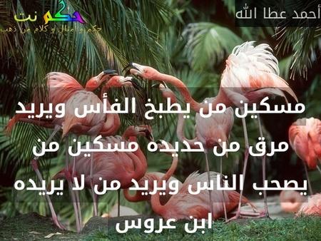 مسكين من يطبخ الفأس ويريد مرق من حديده مسكين من يصحب الناس ويريد من لا يريده ابن عروس -أحمد عطا الله