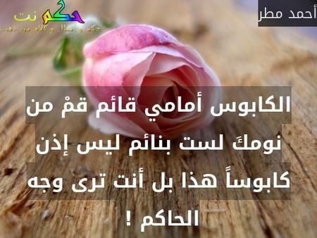 الكابوس أمامي قائم قمْ من نومكَ لست بنائم ليس إذن كابوساً هذا بل أنت ترى وجه الحاكم ! -أحمد مطر