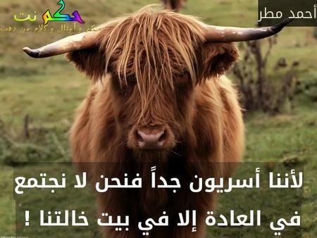 لأننا أسريون جداً فنحن لا نجتمع في العادة إلا في بيت خالتنا ! -أحمد مطر