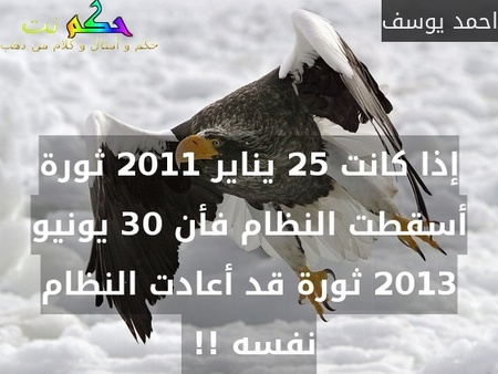 إذا كانت 25 يناير 2011 ثورة أسقطت النظام فأن 30 يونيو 2013 ثورة قد أعادت النظام نفسه !! -احمد يوسف