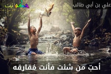 أحبّ من شئت فأنت مُفارقه -علي بن أبي طالب