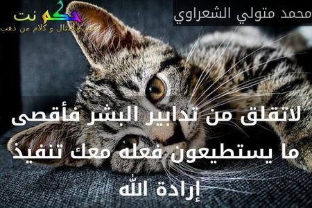 لاتقلق من تدابير البشر فأقصى ما يستطيعون فعله معك تنفيذ إرادة الله -محمد متولي الشعراوي