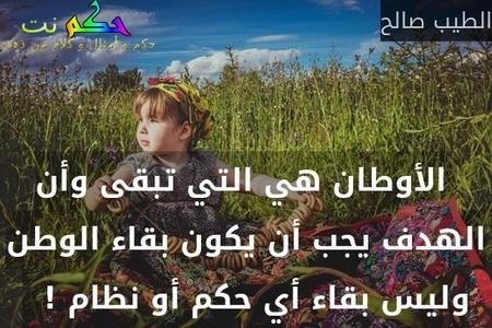 الأوطان هي التي تبقى وأن الهدف يجب أن يكون بقاء الوطن وليس بقاء أي حكم أو نظام !  -الطيب صالح