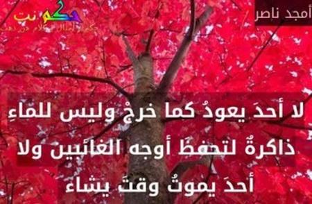لا أحدَ يعودُ كما خرجْ وليس للماءِ ذاكرةٌ لتحفظَ أوجه الغائبين ولا أحدَ يموتُ وقتَ يشاء -أمجد ناصر