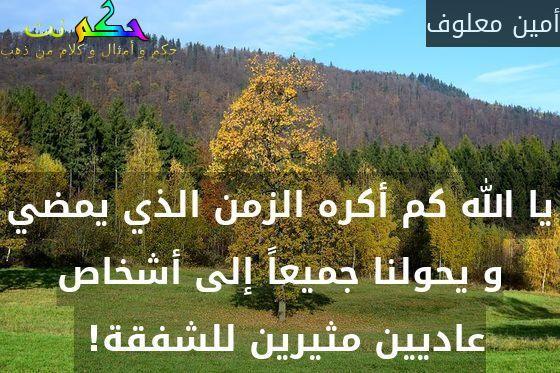 يا الله كم أكره الزمن الذي يمضي و يحولنا جميعاً إلى أشخاص عاديين مثيرين للشفقة! -أمين معلوف