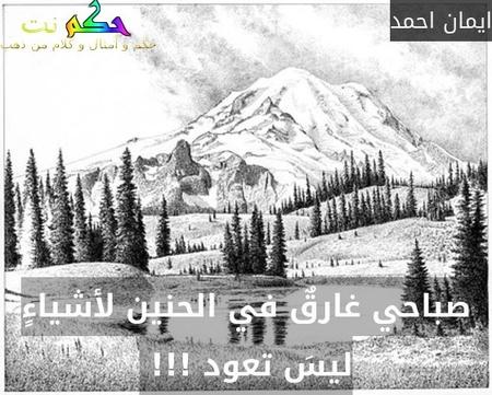 صباحي غارقٌ في الحنين لأشياءٍ ليسَ تعود !!! -ايمان احمد