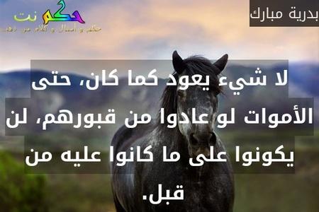 لا شيء يعود كما كان، حتى الأموات لو عادوا من قبورهم، لن يكونوا على ما كانوا عليه من قبل. -بدرية مبارك