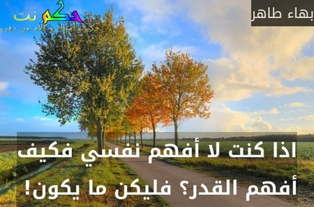 اذا كنت لا أفهم نفسي فكيف أفهم القدر؟ فليكن ما يكون! -بهاء طاهر