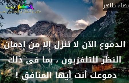 الدموع الآن لا تنزل إلا من إدمان النظر للتلفزيون ، بما فى ذلك دموعك أنت أيها المنافق ! -بهاء طاهر