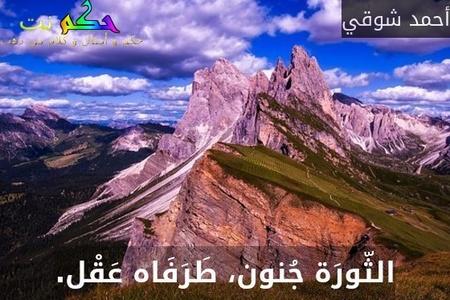 الثّورَة جُنون، طَرَفَاه عَقْل.-أحمد شوقي
