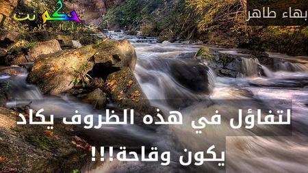 لتفاؤل في هذه الظروف يكاد يكون وقاحة!!! -بهاء طاهر