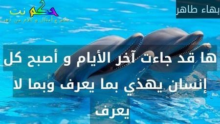 ها قد جاءت آخر الأيام و أصبح كل إنسان يهذي بما يعرف وبما لا يعرف -بهاء طاهر