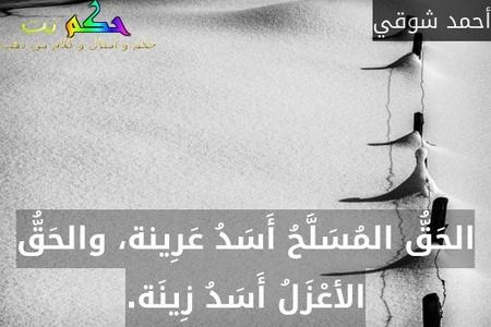 الحَقُّ المُسَلَّحُ أَسَدُ عَرِينة، والحَقُّ الأعْزَلُ أَسَدُ زِينَة.-أحمد شوقي