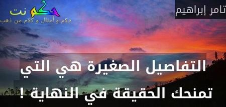التفاصيل الصغيرة هي التي تمنحك الحقيقة في النهاية ! -تامر إبراهيم