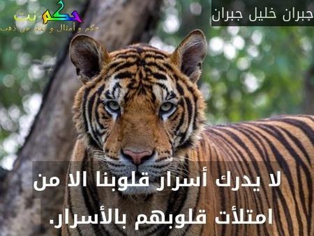 لا يدرك أسرار قلوبنا الا من امتلأت قلوبهم بالأسرار. -جبران خليل جبران