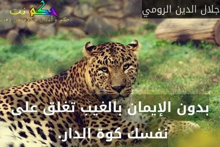 بدون الإيمان بالغيب تغلق على نفسك كوة الدار. -جلال الدين الرومي