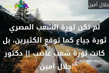 لم تكن ثورة الشعب المصري ثورة جياع كما توقع الكثيرين، بل كانت ثورة شعب غاضب || دكتور جلال أمين -جلال أمين