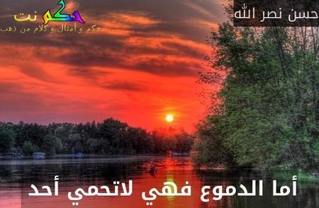 أما الدموع فهي لاتحمي أحد -حسن نصر الله