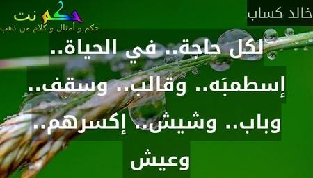 لكل حاجة.. في الحياة.. إسطمبَه.. وقالب.. وسقف.. وباب.. وشيش.. إكسرهم.. وعيش -خالد كساب