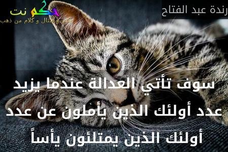 سوف تأتي العدالة عندما يزيد عدد أولئك الذين يأملون عن عدد أولئك الذين يمتلئون يأساً -رندة عبد الفتاح