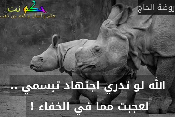 الله لو تدري اجتهاد تبسمي .. لعجبت مما في الخفاء ! -روضة الحاج