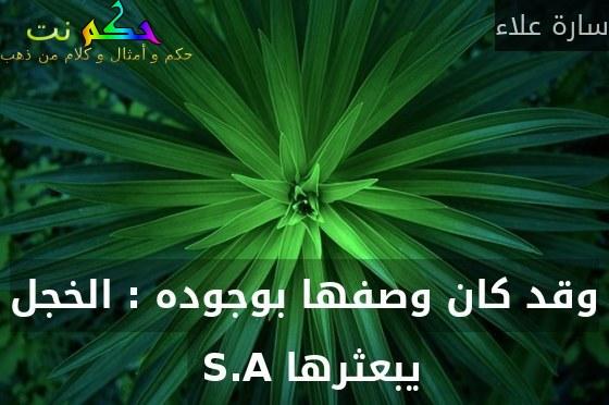 وقد كان وصفها بوجوده : الخجل يبعثرها S.A -سارة علاء