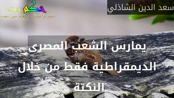 يمارس الشعب المصرى الديمقراطية فقط من خلال النكتة -سعد الدين الشاذلي