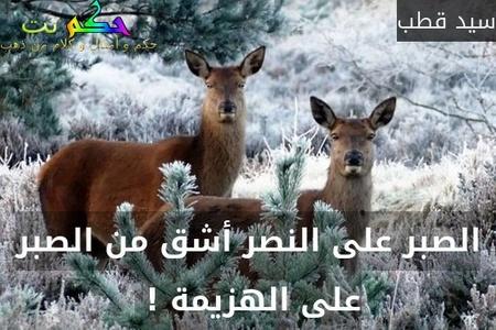 الصبر على النصر أشق من الصبر على الهزيمة ! -سيد قطب