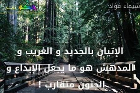 الإتيان بالجديد و الغريب و المدهش هو ما يجعل الإبداع و الجنون متقارب ! -شيماء فؤاد
