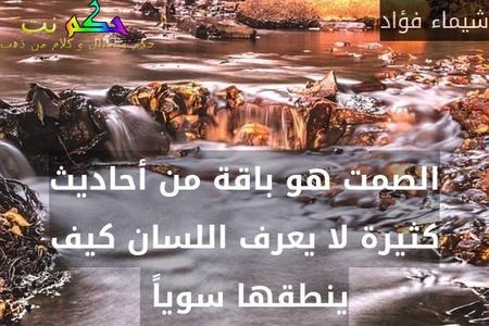 الصمت هو باقة من أحاديث كثيرة لا يعرف اللسان كيف ينطقها سوياً -شيماء فؤاد