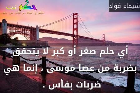 أي حلم صغر أو كبر لا يتحقق بضربة من عصا موسى ، إنما هي ضربات بفأس . -شيماء فؤاد