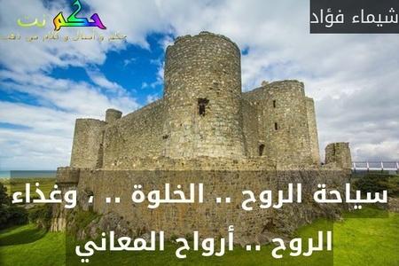 سياحة الروح .. الخلوة .. ، وغذاء الروح .. أرواح المعاني -شيماء فؤاد