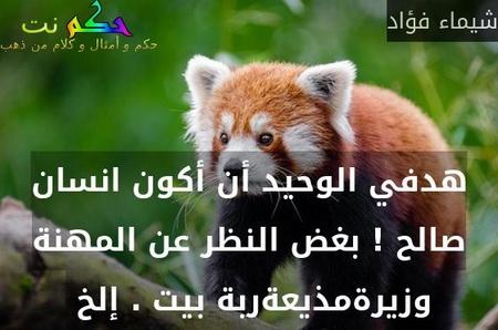 هدفي الوحيد أن أكون انسان صالح ! بغض النظر عن المهنة وزيرةمذيعةربة بيت . إلخ -شيماء فؤاد