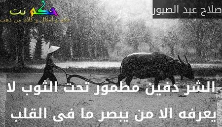 الشر دفين مطمور تحت الثوب لا يعرفه الا من يبصر ما فى القلب -صلاح عبد الصبور