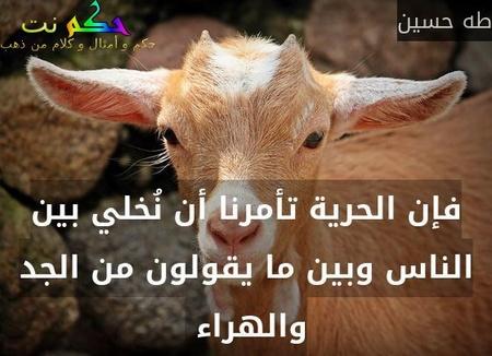 فإن الحرية تأمرنا أن نُخلي بين الناس وبين ما يقولون من الجد والهراء -طه حسين