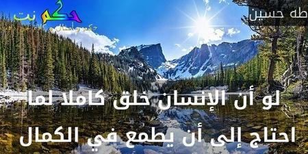 لو أن الإنسان خلق كاملا لما احتاج إلى أن يطمع في الكمال -طه حسين